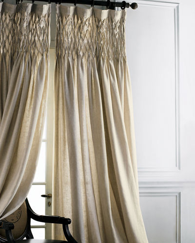 "Pom Pom at Home Each 42""W x 96""L Smocked Linen Curtain"