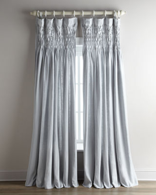 """Each 42""""W x 96""""L Smocked Linen Curtain"""