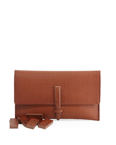 Ermenegildo Zegna Pelle Tessuta Woven Calf Leather Domino