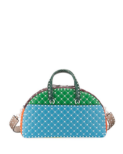Valentino Garavani Rockstud Quilted Zip-Around Bowling Bag