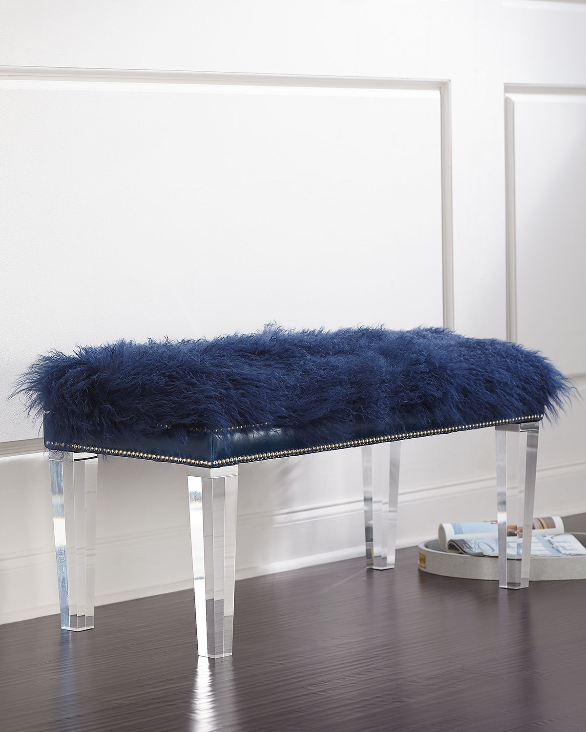 Massoud Kirabelle Sheepskin Bench, 40""