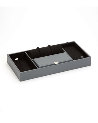WOLF Howard Valet Jewelry Tray With Tie Roll - Grey