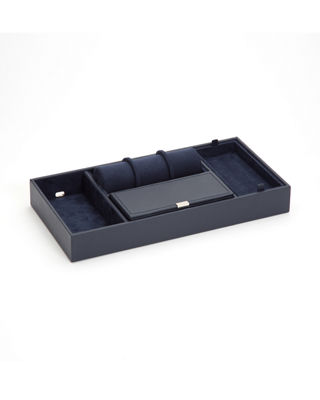 WOLF Howard Valet Jewelry Tray With Tie Roll - Blue in Navy