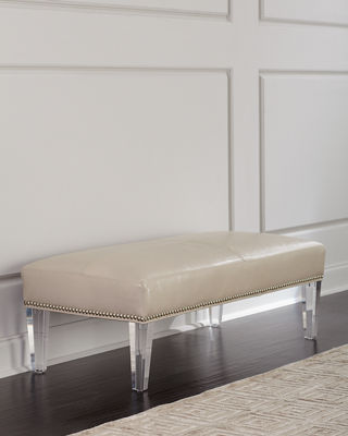 Dante Leather Bench with Acrylic Legs
