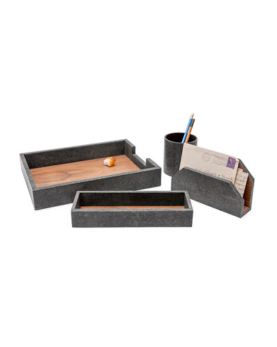 Crosby Faux-Shagreen Desk Organizer Accessory Set