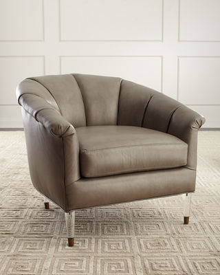 Massoud Surrey Leather Channel Tufted Chair
