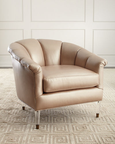 Surrey Leather Channel Tufted Chair
