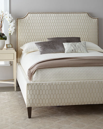 Doria Golden Lace King Upholstered Bed