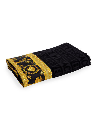 Logo Jacquard Beach Towel with Baroque-Print Border