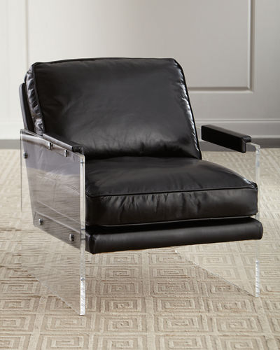 John-Richard Collection Alter Lucite-Arms Leather Chair