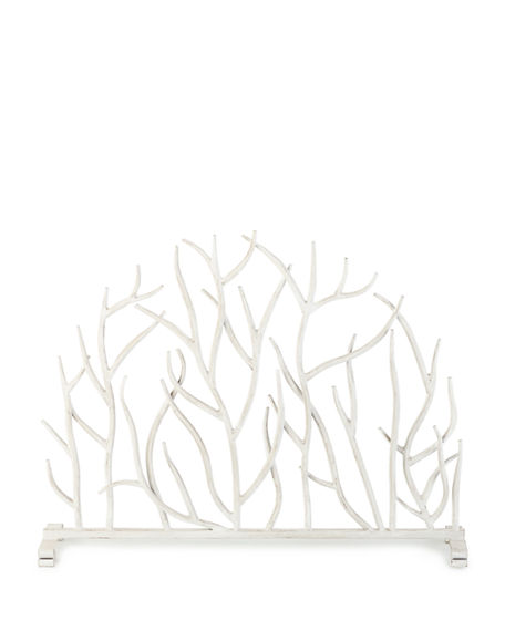 Image 2 of 2: White Twig Branch Fireplace Screen