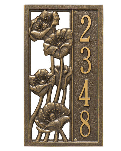 Personalized Flowering Poppies Vertical Address Plaque