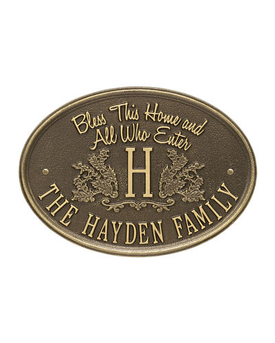 Bless This Home Monogram Oval Personalized Plaque