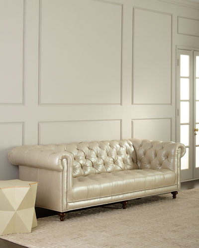 Lara Leather Chesterfield Sofa  94