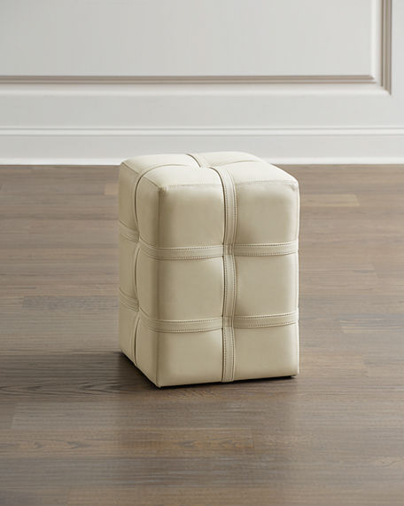 Image 1 of 3: Global Views Belted Leather Pouf
