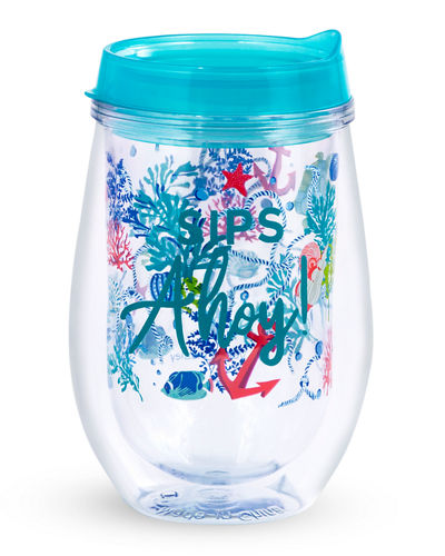 Vera Bradley Wine Glass with Lid