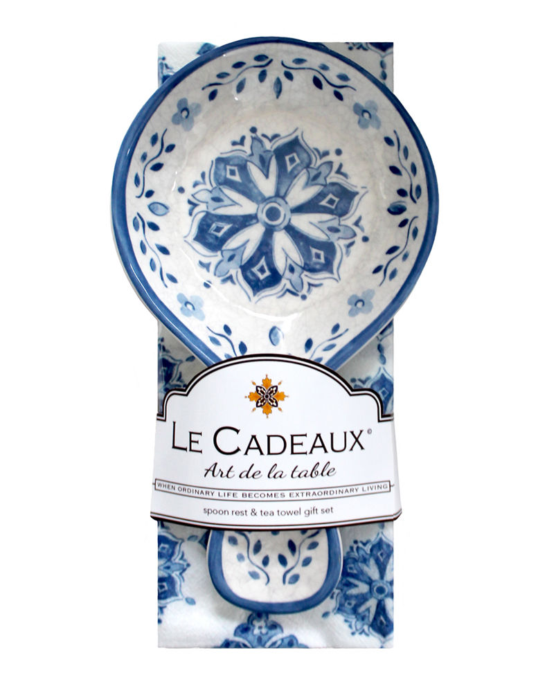 Le Cadeaux Spoon Rest with Matching Tea Towel Set