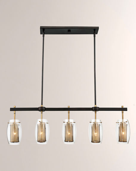 Image 1 of 3: Dunbar Five-Light Linear Chandelier