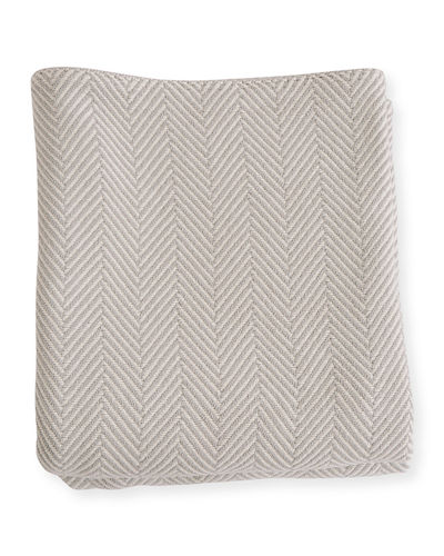 Herringbone Cotton Twin Blanket, Blush/Natural