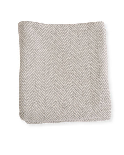 Herringbone Cotton Blanket, Blush Natural