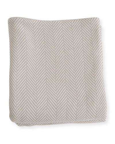 Herringbone Cotton Blanket, White/Natural