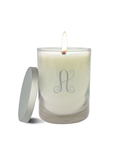Carved Solutions Monogram Clear Glass Candle