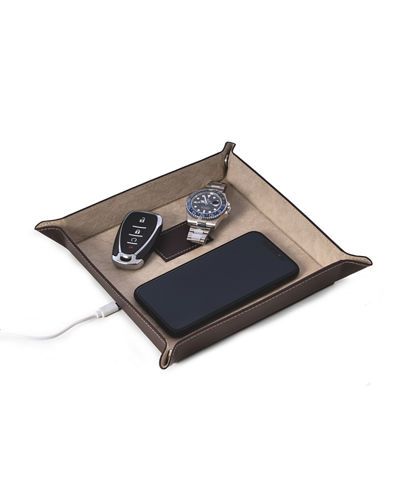 Bey-Berk Men's Personalized Leather/Velour Charge Station