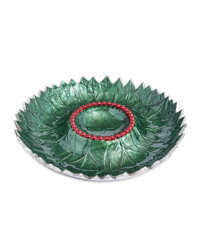 Holly Sprig 13.5 Chip And Dip Serving Bowl