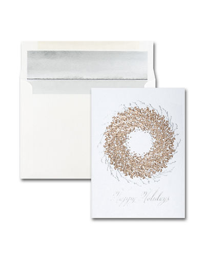 Carlson Craft 25 Rose Gold Wreath Greeting Cards with Printed Envelopes