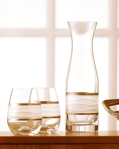 Michael Wainwright Ile de re Carafe with Two Stemless Wine Glasses