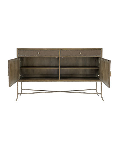 Bernhardt Rustic Patina Fabric Wrapped Buffet Table
