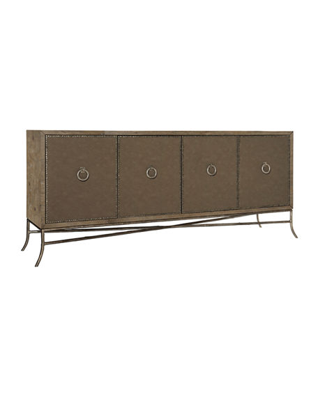 Bernhardt Rustic Patina Fabric Wrapped Entertainment Console