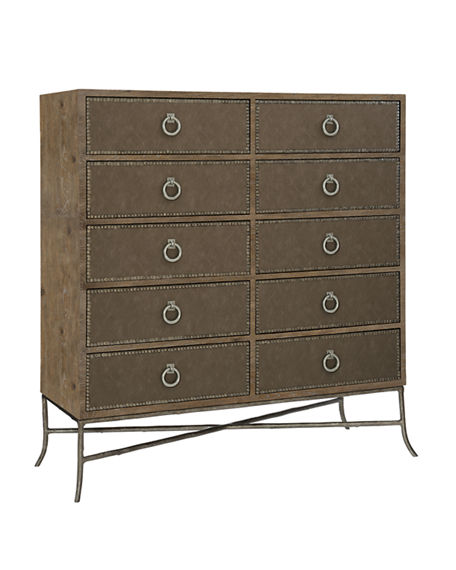 Bernhardt Rustic Patina Fabric Wrapped Tall Chest