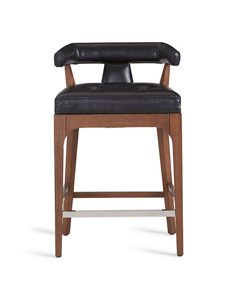 Image 2 of 4: Global Views Moderno Leather Counter Stool