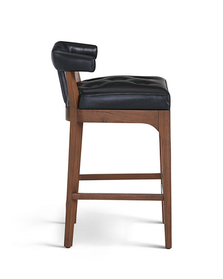 Image 3 of 4: Global Views Moderno Leather Counter Stool