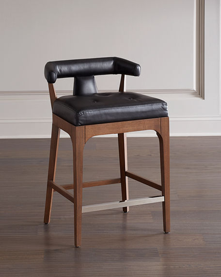 Image 1 of 4: Global Views Moderno Leather Counter Stool