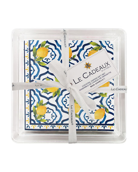 Le Cadeaux Patterned Cocktail Napkins with Acrylic Holder