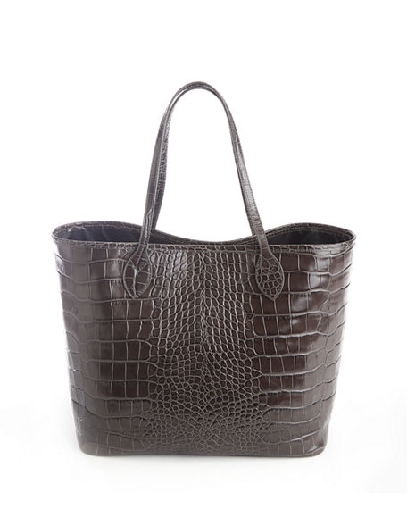 ROYCE New York Croc-Embossed Wide Tote Bag with Wristlet