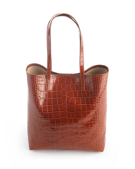 Image 3 of 3: ROYCE New York Croc-Embossed Tote Bag with Wristlet