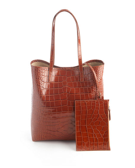 Image 1 of 3: ROYCE New York Croc-Embossed Tote Bag with Wristlet