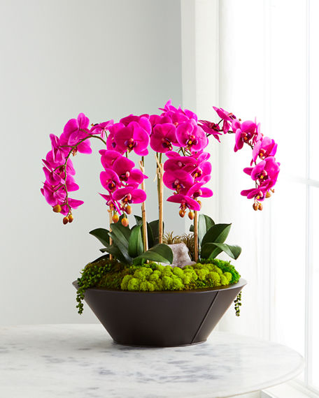 T&C Floral Company Orchids & Geode in Round Metal Container