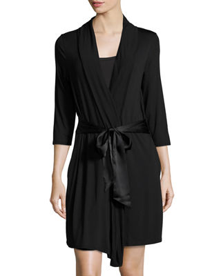 FLEUR'T Take Me Away Travel Robe With Silk Inset Belt And Hidden Pockets in Black