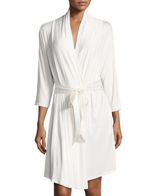 FLEUR'T Take Me Away Travel Robe With Silk Inset Belt And Hidden Pockets in Ivory
