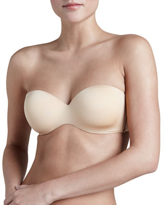 Matte-Satin And Stretch-Mesh Strapless Bra, Nude