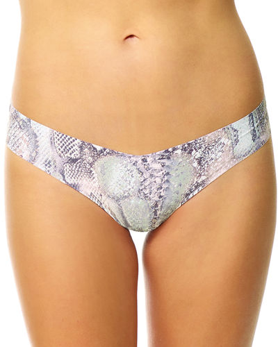 Seamless Lace-Print Thong