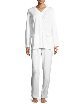 P JAMAS Butterknit Button-Front Long Pajama Set, White in Light Blue