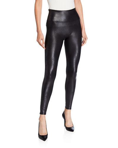 HUE Womens Faux Leather Paneled Leggings Black XS