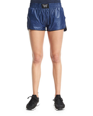 HEROINE SPORT Logo-Front Lightweight Training Shorts, Navy/Black, Navy W/Black