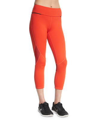 ALALA Captain Crop Capri Running Tights/Leggings in Fiery Red