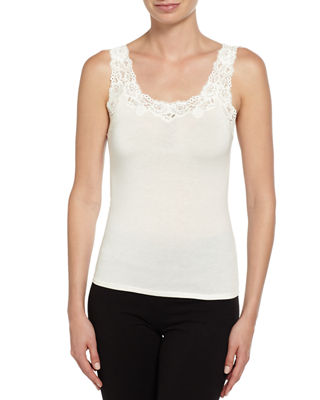 Aspire Lace-Trim Jersey Tank, Ivory